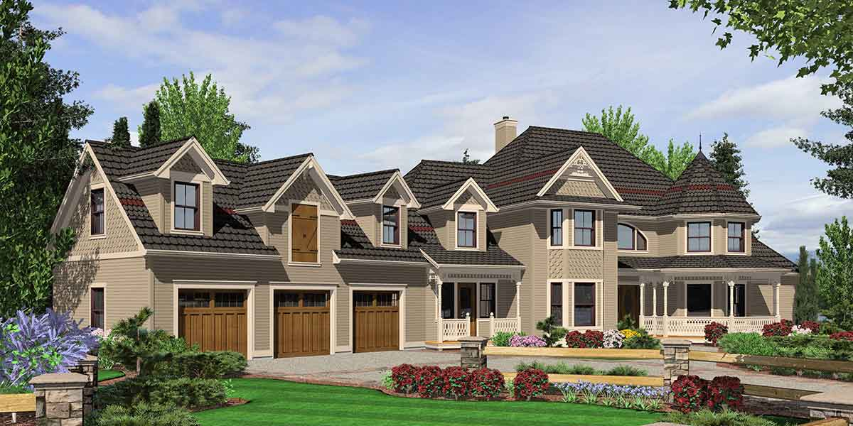 10067 Victorian House Plans, Country Kitchen House Plans, Bonus Room Over Garage