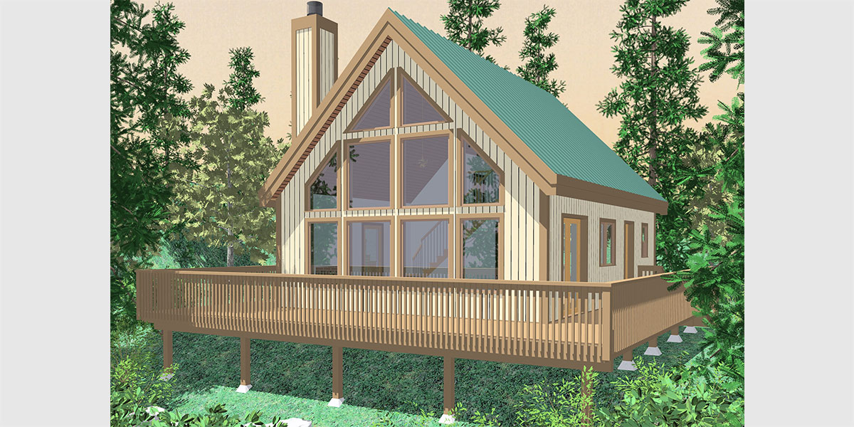 10036-fb Small A-Frame house plans, house plans with great room, house plans with loft, house plans with wrap around porch, 10036
