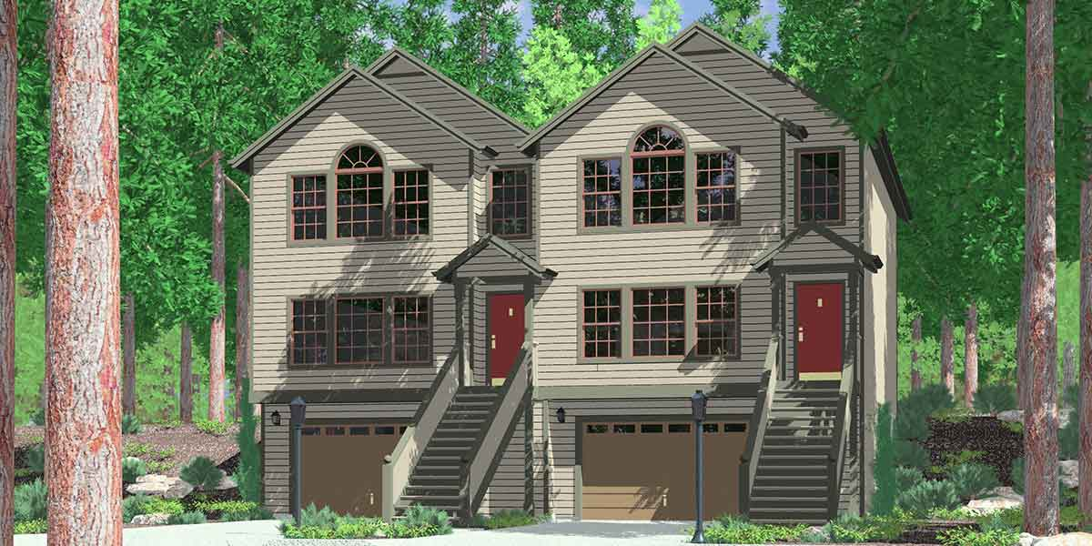 House front color elevation view for D-525 Row house plans with garage, duplex house plans, D-525