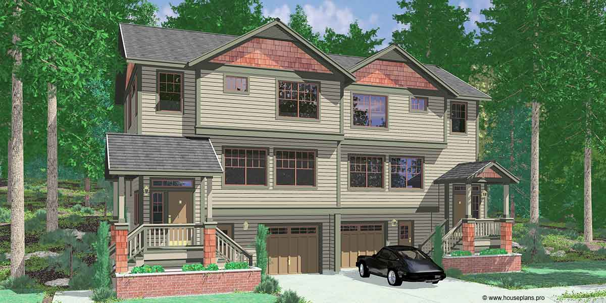 House front color elevation view for D-523 Craftsman duplex house plans, sloping lot duplex house plans, D-523