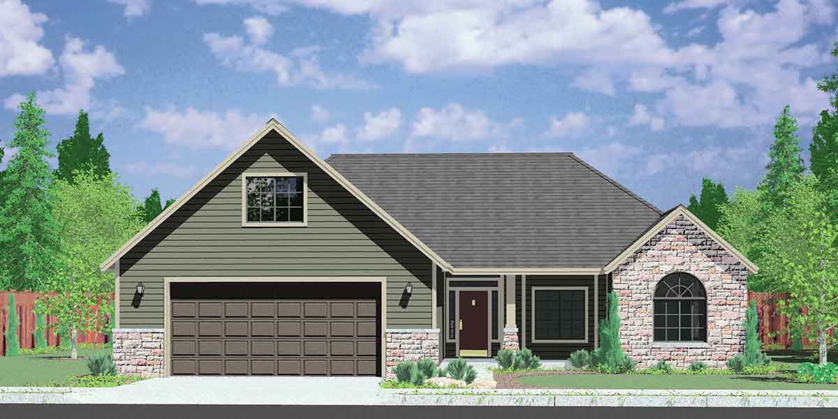 10059 One Story House Plans, house plans with bonus room over garage, house plans with shop, 10059