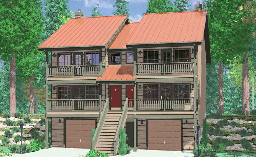 D-419 Duplex house plans, 3 story house plans, house plans with front decks, D-419