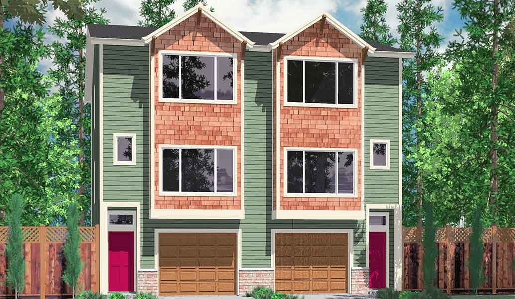 D-526 Duplex house plans, narrow lot townhouse plans, D-526