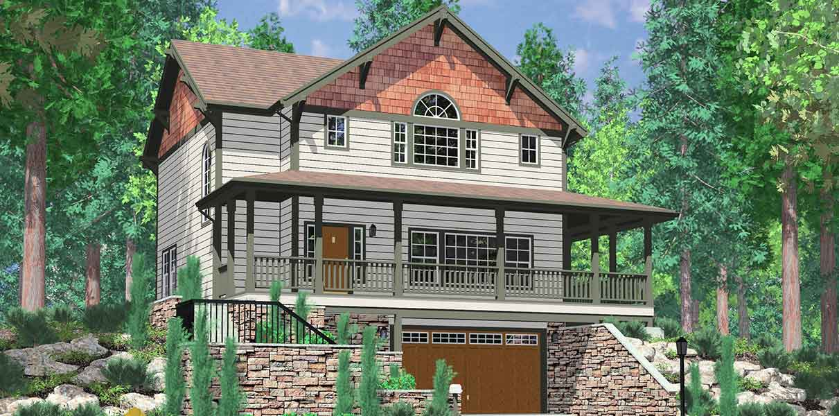 10060 Daylight basement house plans, Craftsman house plans, house plans with wrap around porch, large kitchen island, 3 bedroom house plans, 10060