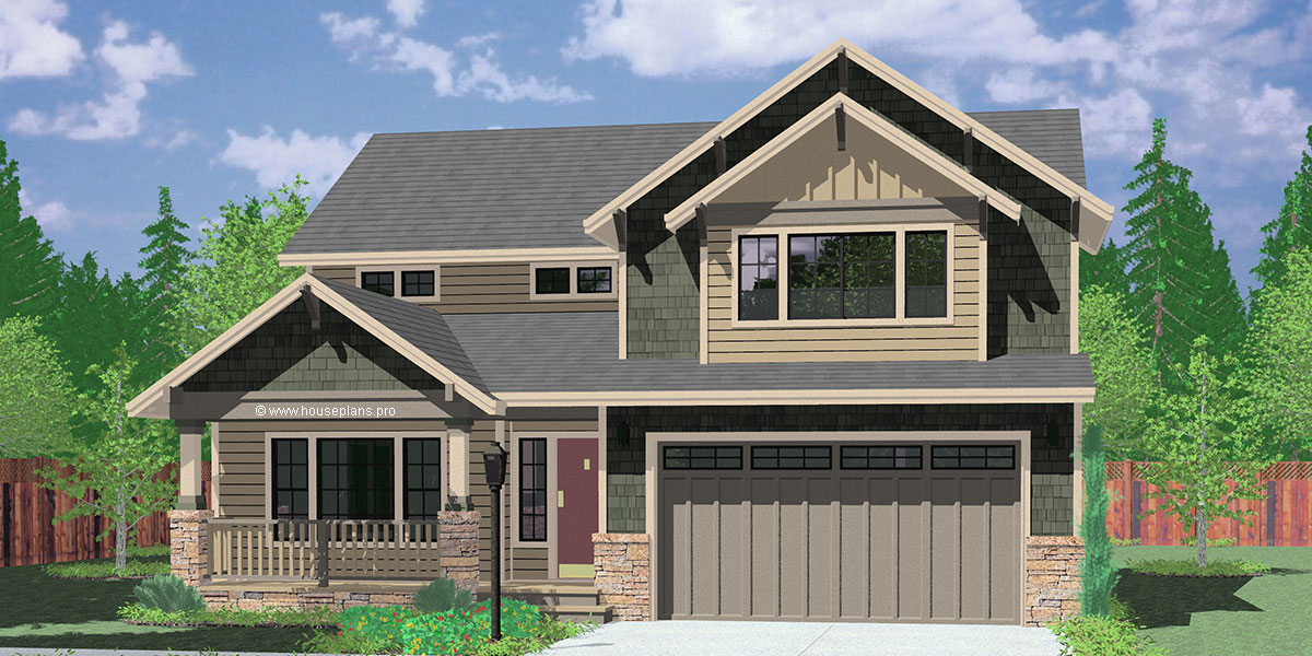 9950-fb 4 bedroom house plans, craftsman house plans, 40 ft wide house plans, 40 x 40 house plans, two story house plans, 9950
