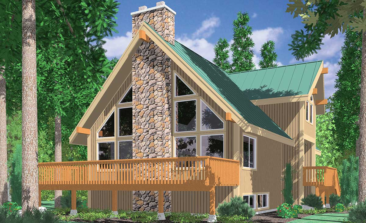 3683 A-Frame house plans, Vacation house plans, Masonry Fireplace, Wall of Windows