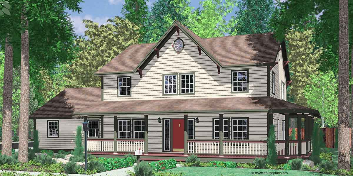 9999 Country Farm house plans, house plans with wrap around porch, house plans with basement, house plans with side load garage, 9999