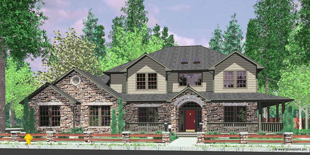 10045 House plans, traditional house plans, house plans with wrap around porch, corner lot house plans, house plans with side garage, 10045
