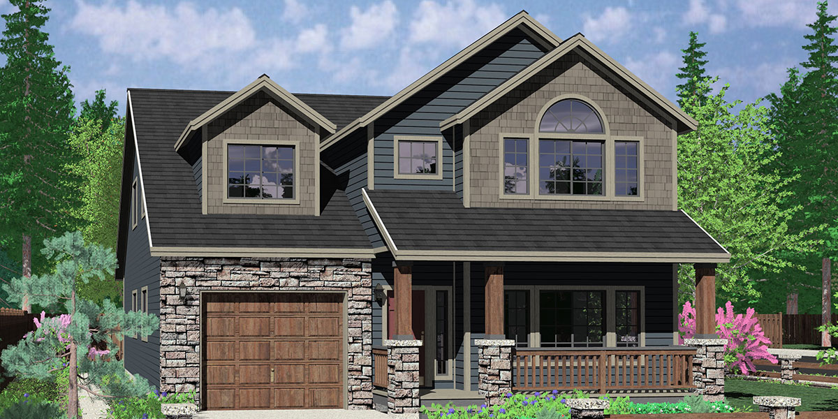 House front color elevation view for 10103 Narrow lot house plans, house plans with tandem garage, house plans with bonus room, narrow house plans, 10103