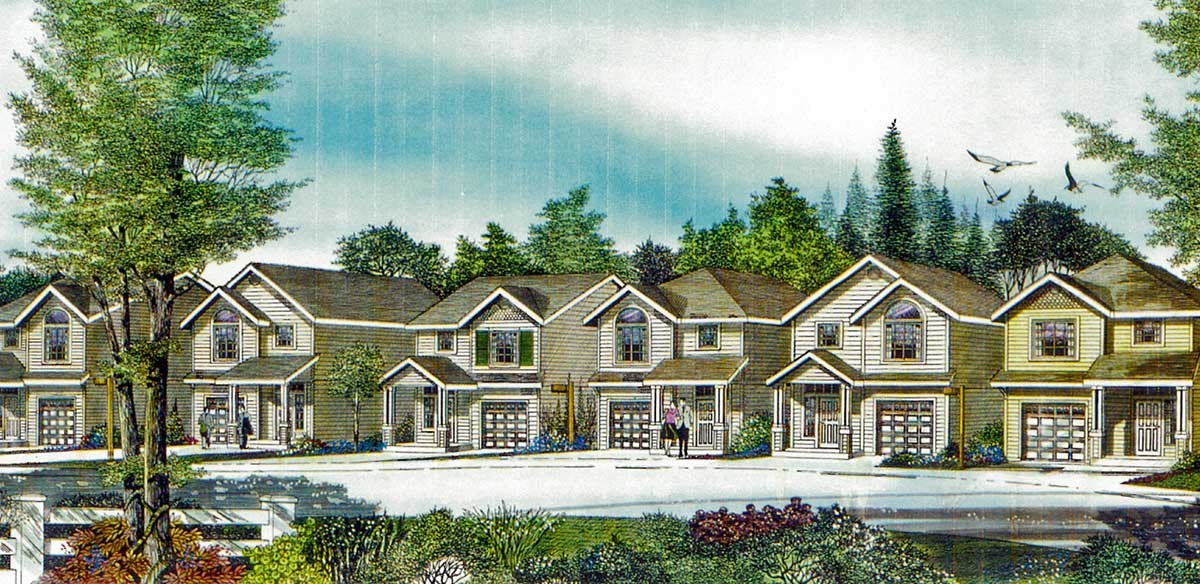 House side elevation view for 9994 Narrow lot house plans, small lot house plans, 22 ft wide house plans, 3 bedroom house plans, 9994
