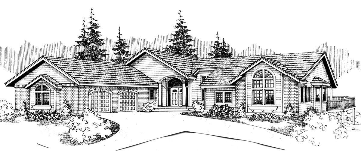 9863 House plans, side entry garage, house plans with shop, daylight basement house plans