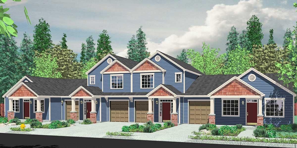 4 Plex House Plans Multiplexes Quadplex Plans