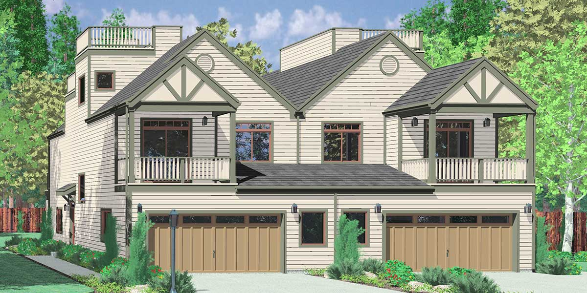 D-432 Mediterranean duplex house plans, beach duplex house plans, vacation house plans, duplex house plans with 2 car garage, water front house plans, D-432