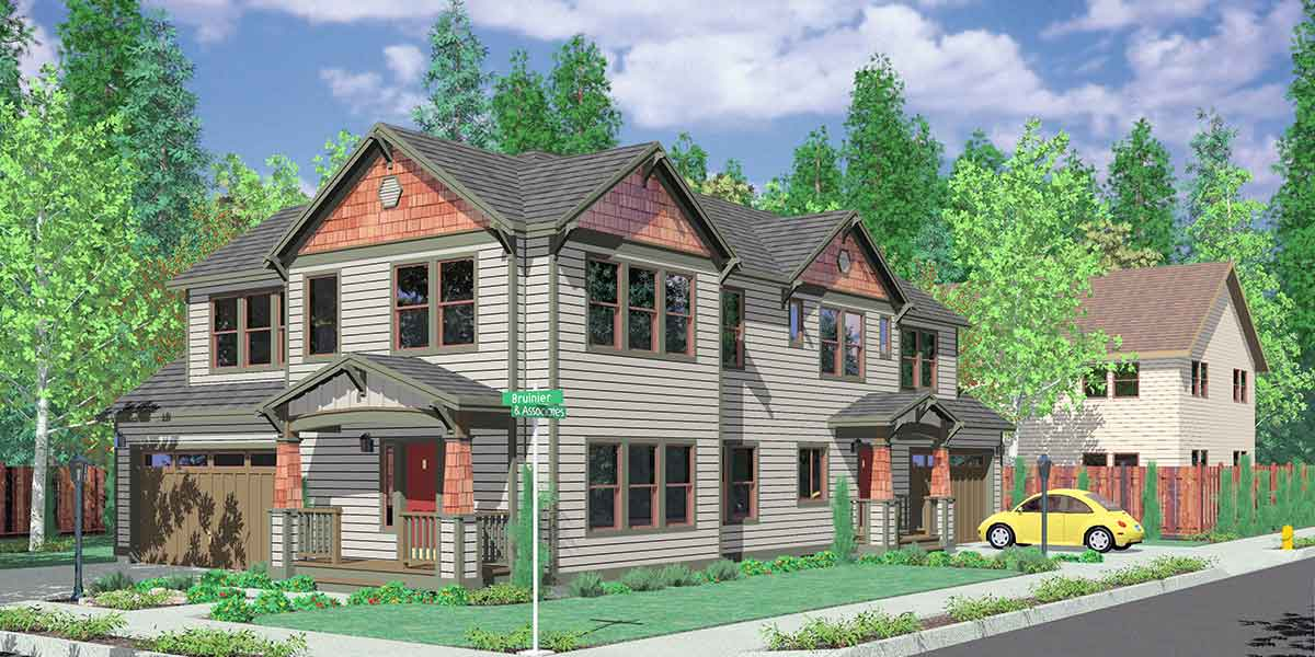 D-444 Corner lot house plans, duplex house plans, two master suite house plans