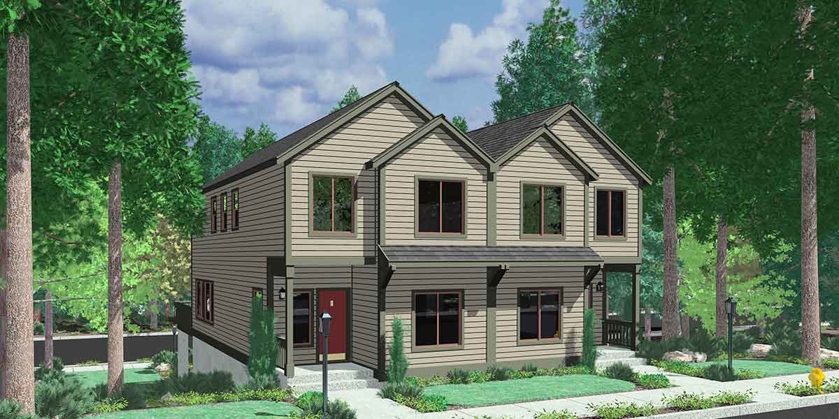 Duplex House Plans D 522 Sloping Lot Plans View Deck