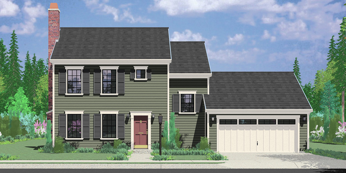 9952 Colonial House Plan 3 Bedroom, 2 Bath, 2 Car Garage