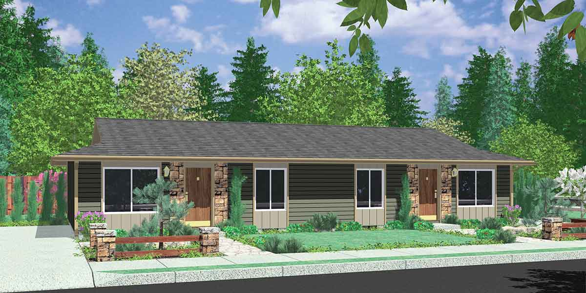 D-024 Duplex House Plan - One Story Ranch