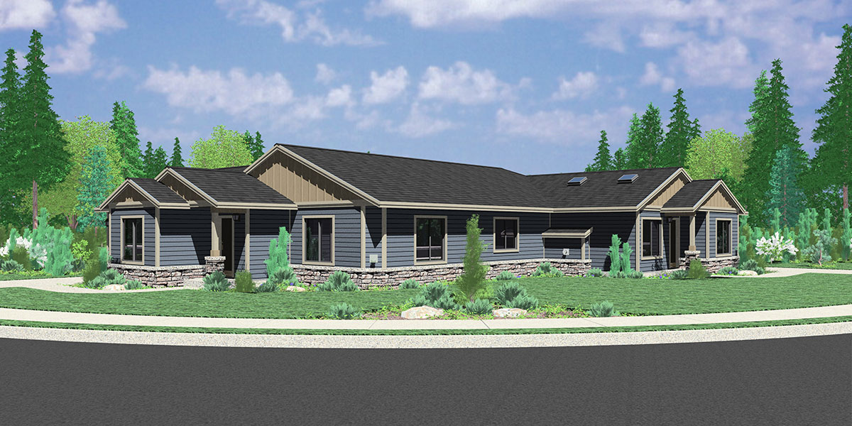 D-440 One Story Duplex House Plan for Corner Lot