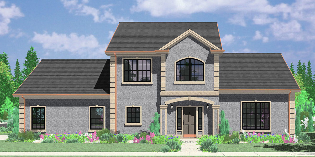 10019 Two story house plans, 3 bedroom house plans, master on the main floor plans, side entry garage house plans, corner lot house plans, 10019b