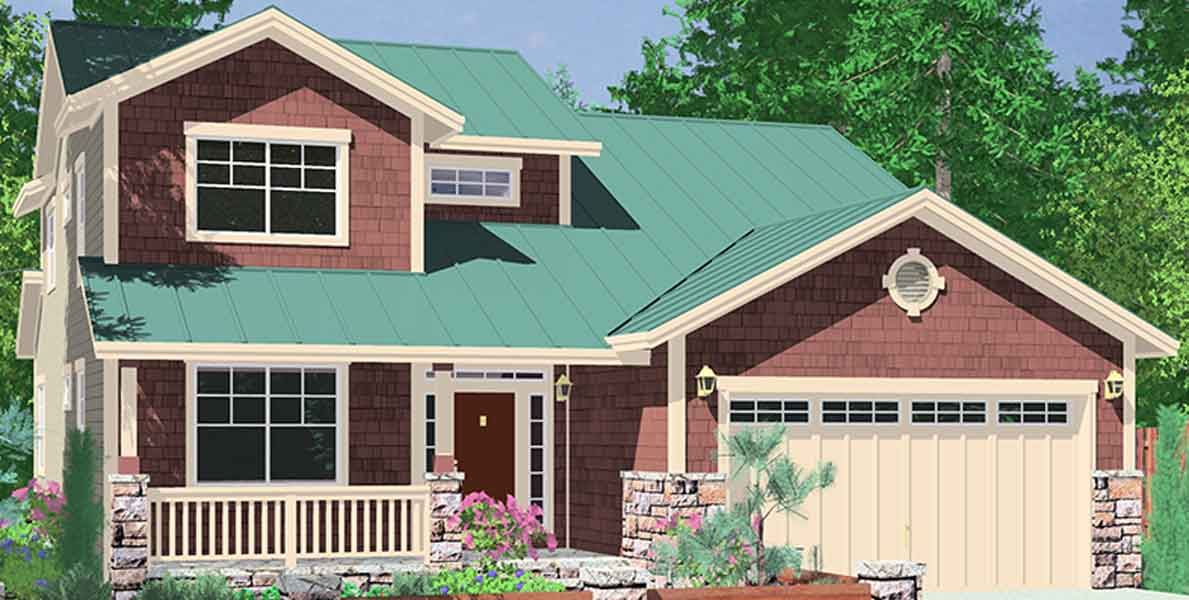 10075 40 ft wide Narrow lot house plan w/ Master on the main floor.