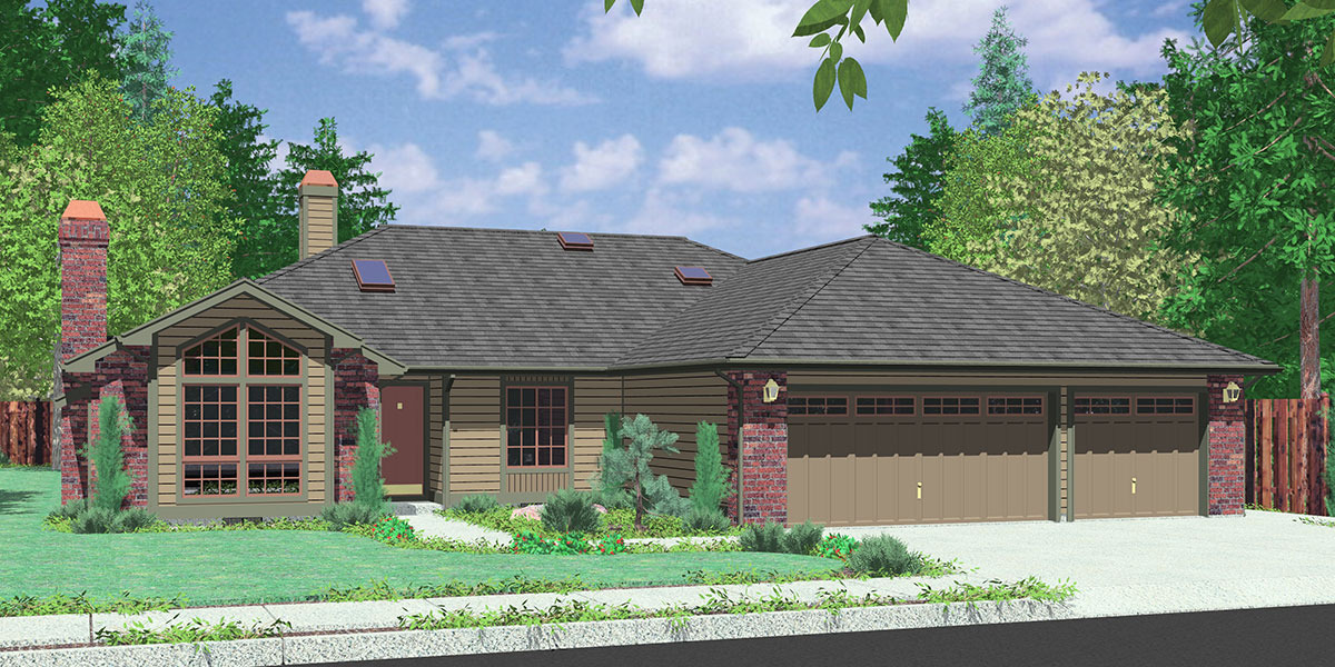 10024 Single level house plans, empty nester house plans, house plans with 3 car garage, 10024