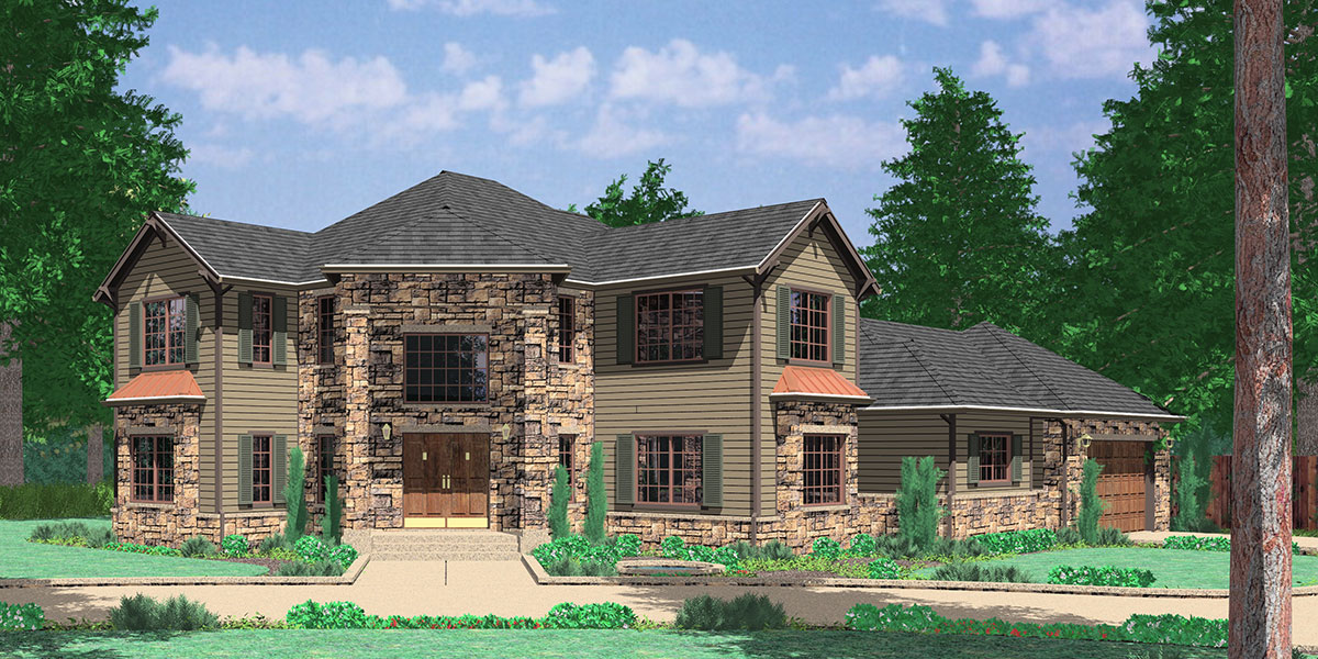 10029 Grand Entrance Corner Lot House Plan, Master on the Main Floor