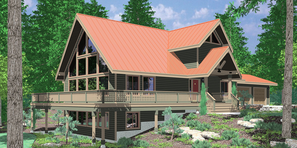 9948 Amazing A-Frame House Plan, Central Oregon House Plan, 5 bedrooms