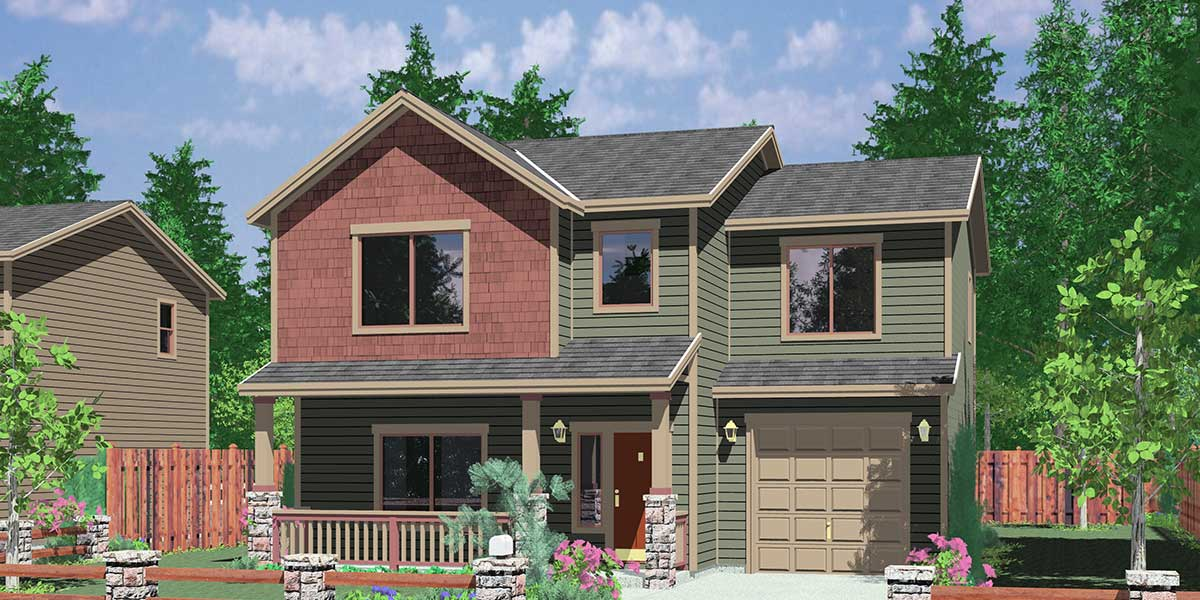 10094 Narrow lot house plans, small lot house plans, 3 bedroom house plans, 10094