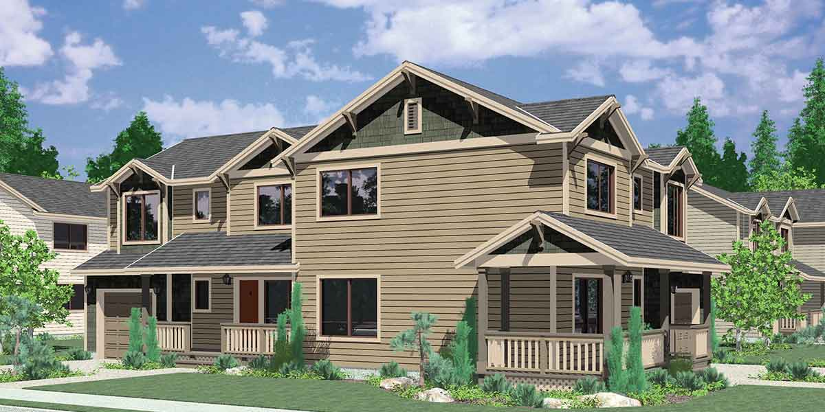 D-505 Corner lot duplex house plans, 3 bedroom duplex house plans, 2 story duplex house plans, D-505