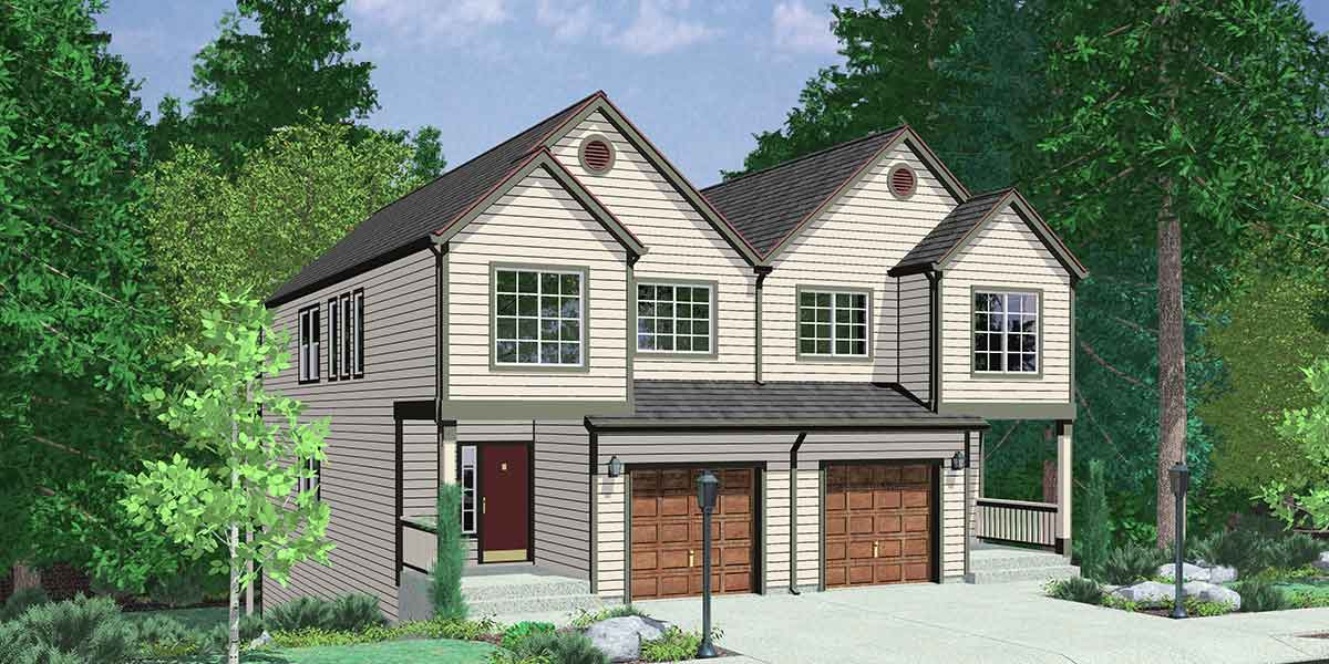 D-471 Duplex house plans, sloping lot duplex house plans, master on the main house plans, D-471