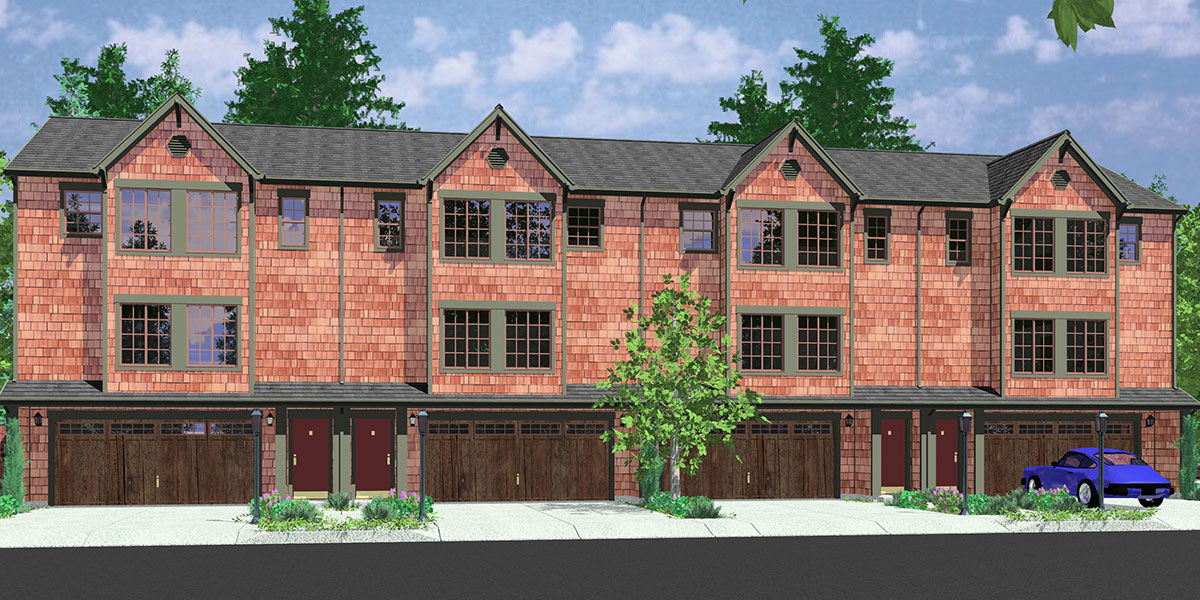 F-546 Fourplex house plans, 3 story town house, 3 bedroom townhouse, 4 plex plans with garage, F-546
