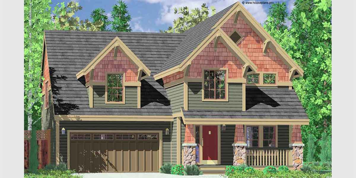 10104 Craftsman house plans, house plans with bonus room, 40 x 40 house plans, narrow lot house plans, 10104