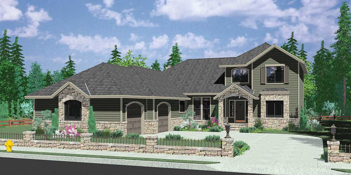 10052 Traditional house plan w/ atrium and side load garage