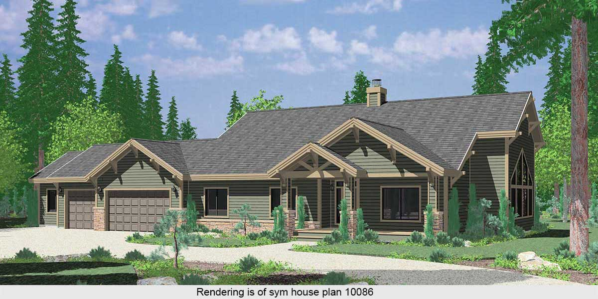 10037 Large Ranch House Plan featuring Gable Roofs