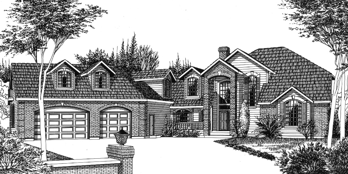 9895 Country house plans, Luxury house plans, Master bedroom on main floor, Bonus room over garage, Daylight basement, 9895