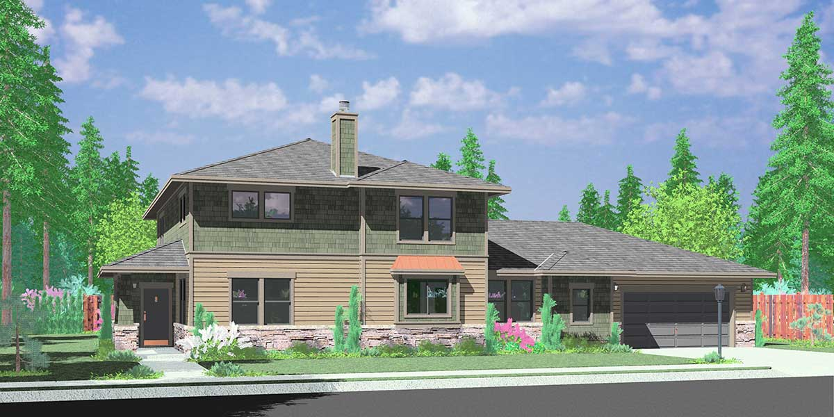 10096 Two Story Traditional House Plan features single family with in law suite.