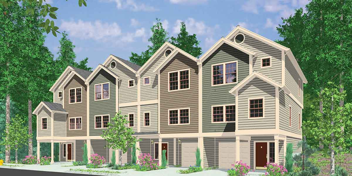 F-558 Four-plex house plans, 4 unit multi family house plans, F-558