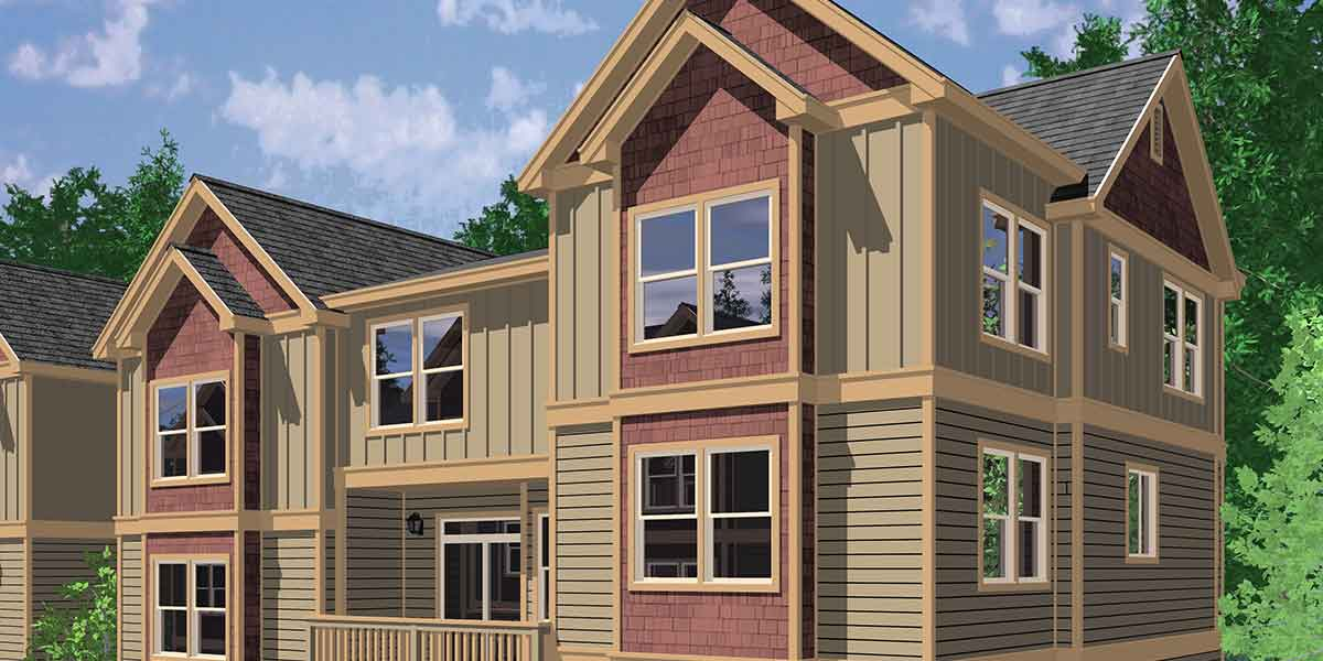 House front color elevation view for T-403 Triplex House Plans, Traditional House Plans, Town House Plans, T-403