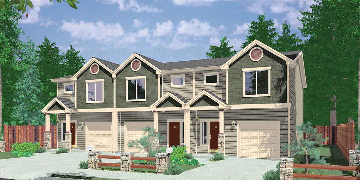 T-397 Triplex House Plans, 3 Bedroom House Plan, 22' Wide House Plan, T-397