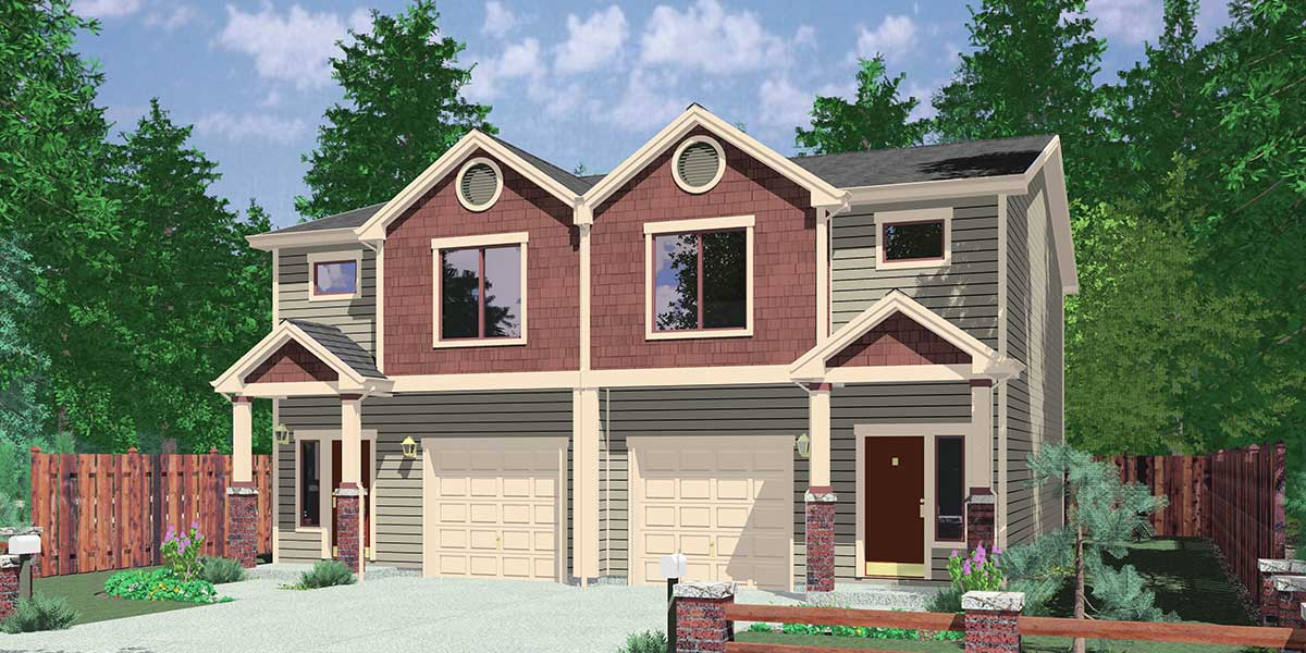 D-532 Duplex House Plan, D-532, Duplex  Plans with Garage