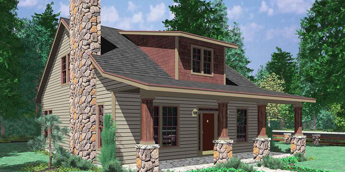 10122 Bungalow House Plans, Large Porch House Plans, 1.5 Story House Plans, House Plans with Dormer Windows