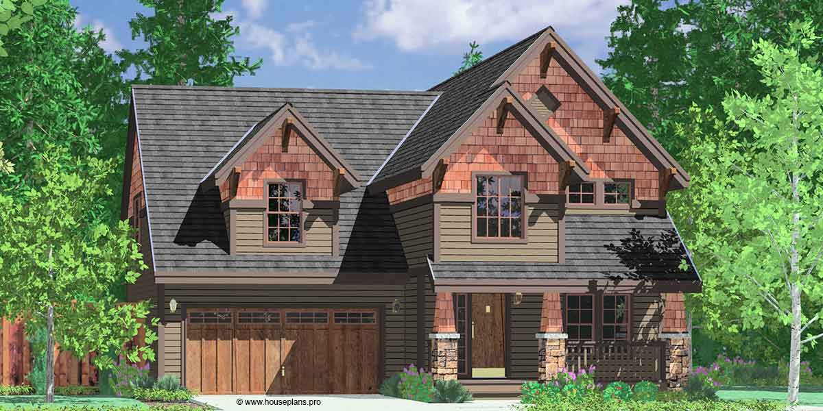 10121 2 Story Craftsman House Plans, 40' Wide House Plans, 4 Bedroom House Plans