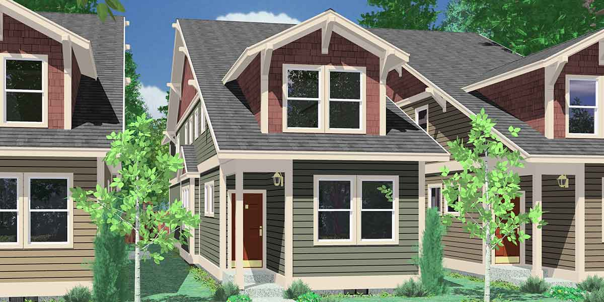 10119 Narrow lot house plans, house plans with rear garage, 4 bedroom house plans, 15 ft wide house plans, 10119