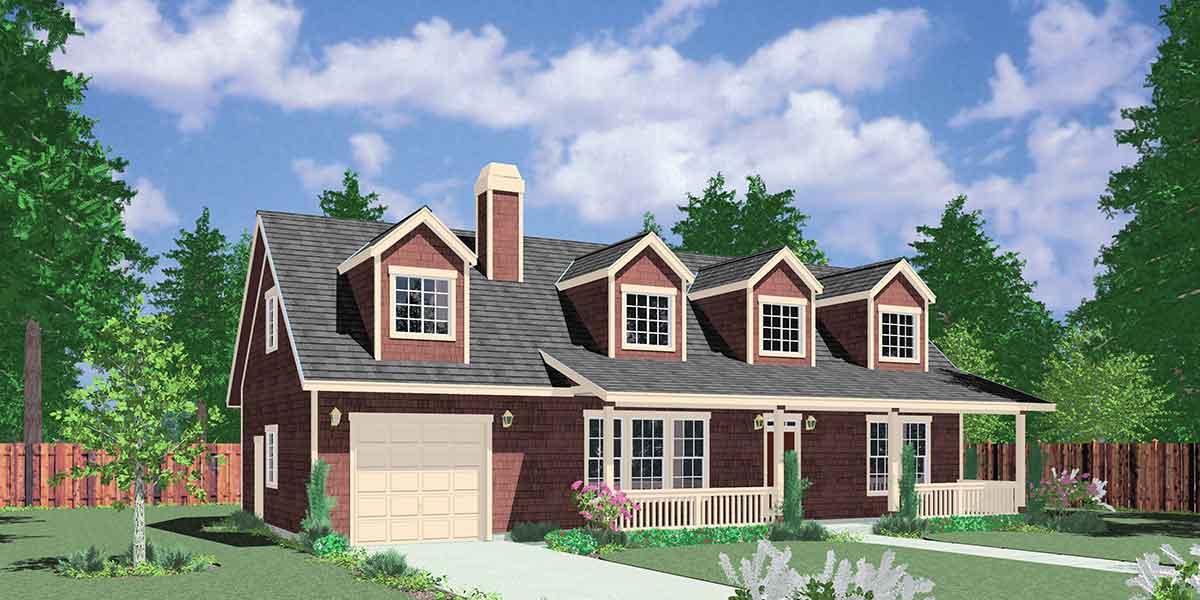 10107 Farmhouse plans, 1.5 story house plans, county house plans, master on the main house plans, 10107