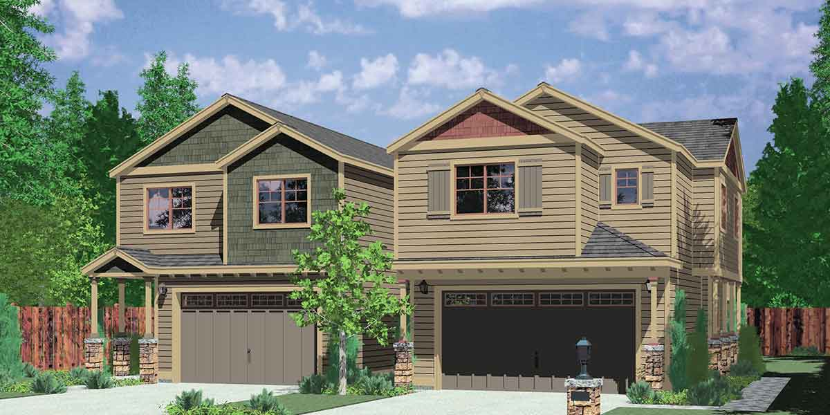 D-558-b Duplex house plans, corner lot duplex house plans, duplex house plans with garage, 3 bedroom duplex house plans, D-558-b