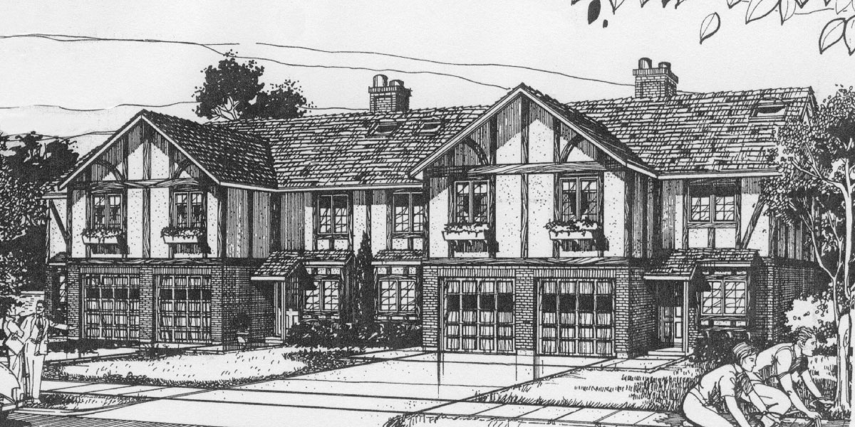 F-490 4 plex plans, Tudor house plans, townhome plans, quadplex plans, F-490