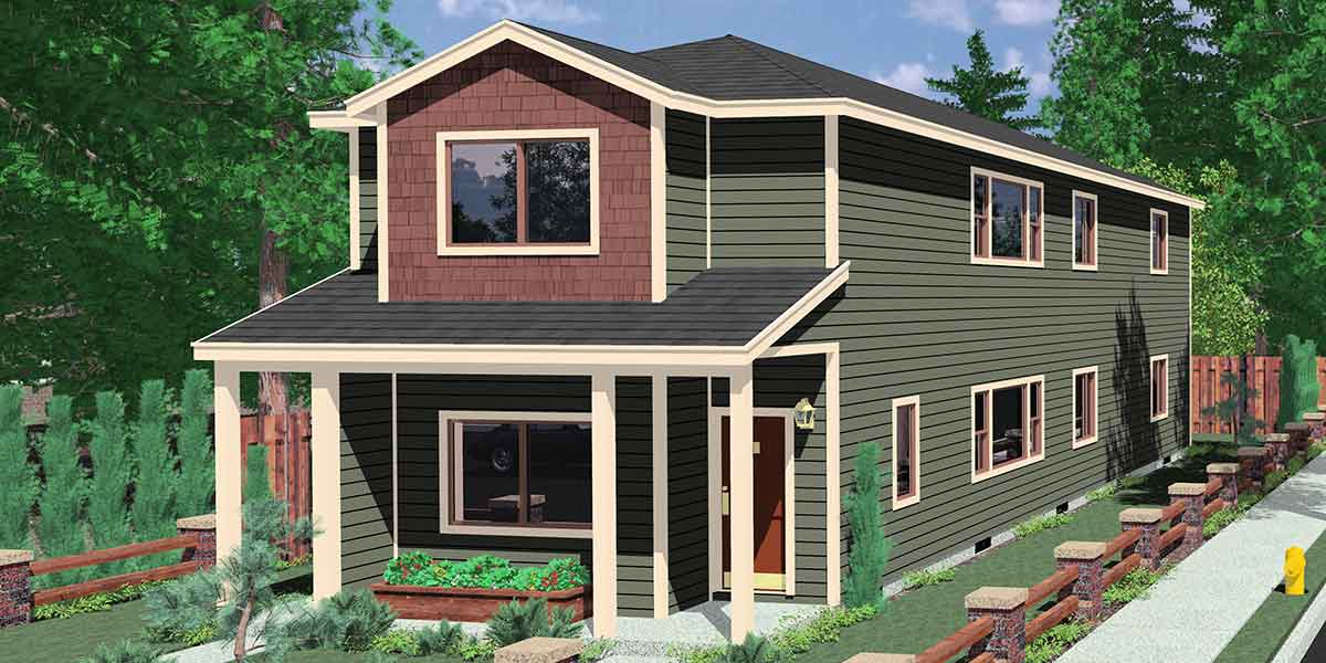 D-552 Duplex house plans, stacked duplex house plans, D-552