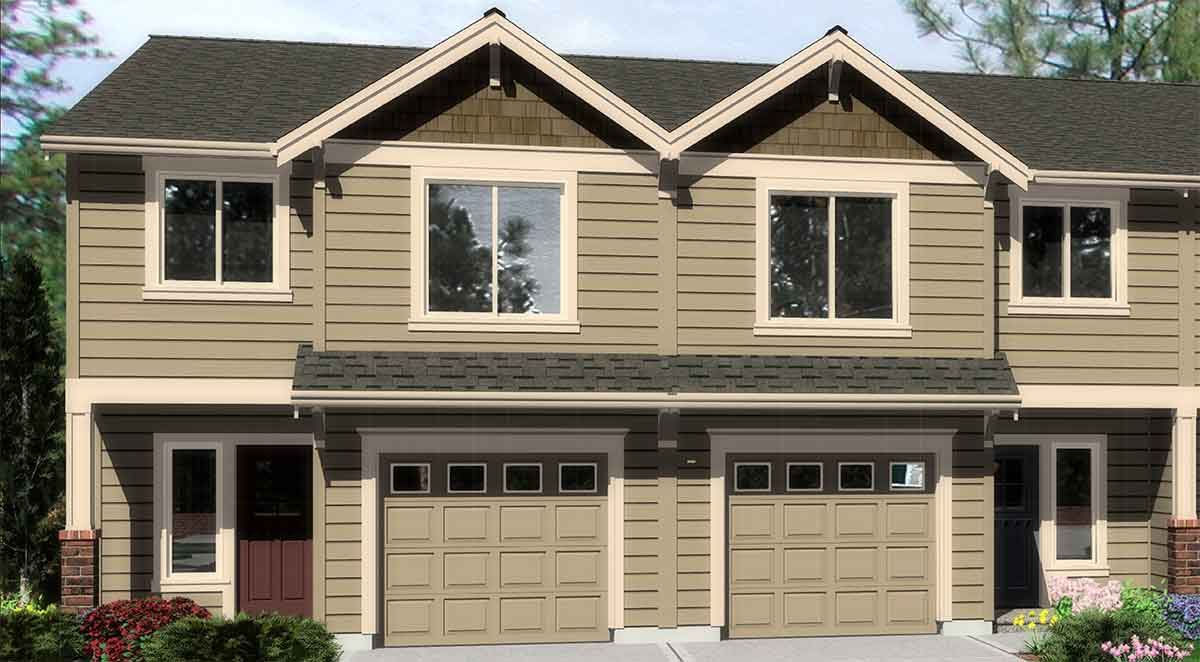 House front color elevation view for D-536 Duplex house plans, townhouse plans, D-536