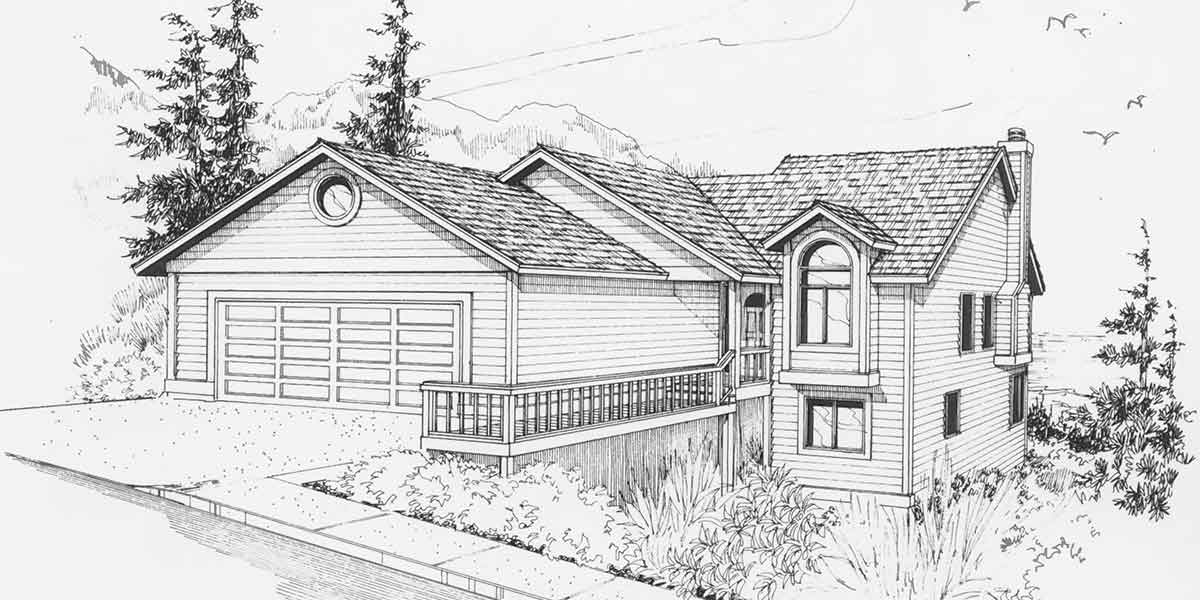 9640 Rear View House Plan w/ Daylight Basement