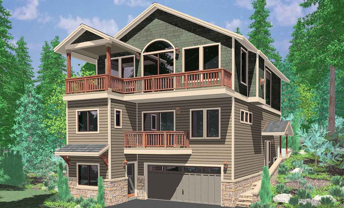 10141 House plans, house plans for sloping lots, 3 level house plans, three story house plans, view house plans, 10141